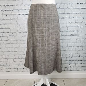 Kate Hill Plaid A Line Flare Skirt